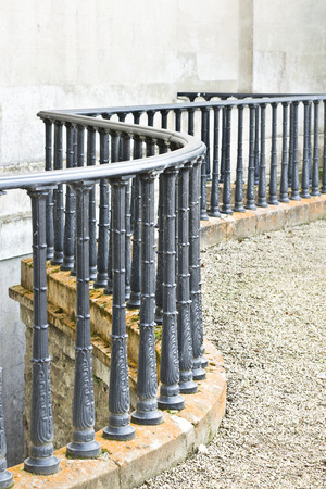 Wrought iron railings outside an old building