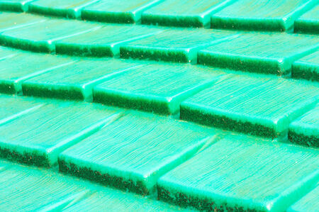 Close up of a green plastic surface in detail as an abstract image