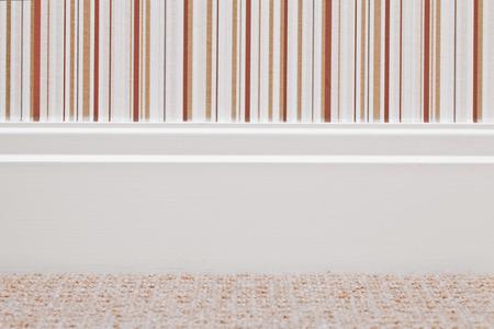 skirting: Modern white wooden skirting board Stock Photo