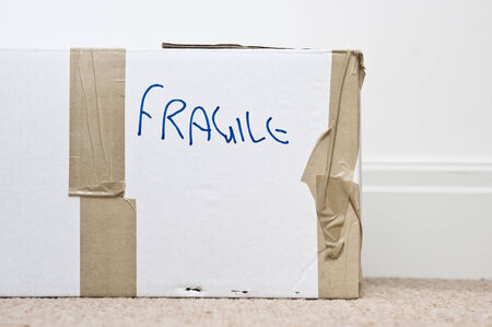 moving box: Cardboard box for moving freight with fragile written on it
