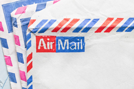 airmail: Stack of traditional airmail envelopes Stock Photo