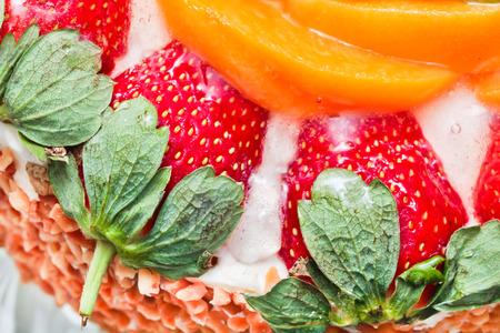 gateau: Close up of part of a fruit gateau Stock Photo
