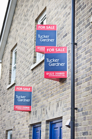 first time buyer: CAMBRIDGE, UK - JANUARY 10 2015: Properties for sale in Cambridhe, UK.  Cambridge has notoriously expensive property prices.
