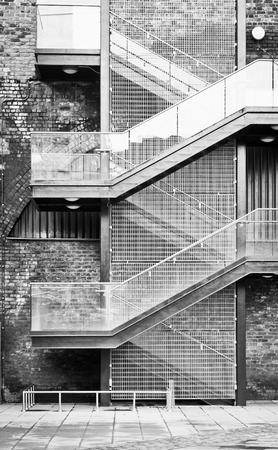 building external: A staircase on the external wall of an urban building Stock Photo