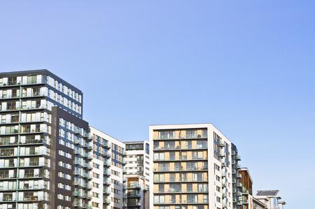 block of flats: Modern apartment blocks in the UK Stock Photo