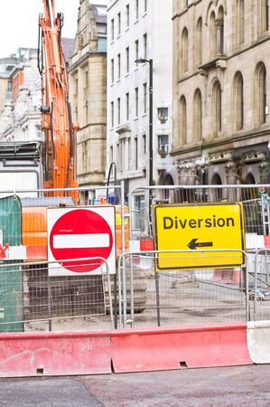 diversion: Traffic diversion in place due to road works