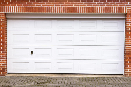 A large garage door in a home Stock Photo