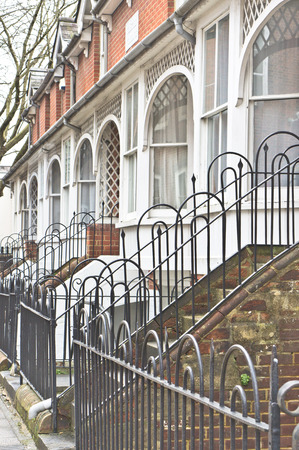 town houses: A row of town houses in Winchester, UK Stock Photo