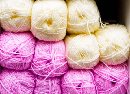 gomitoli di lana: Palline colorate di lana come sfondo Archivio Fotografico