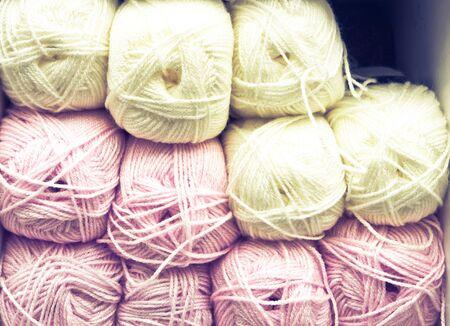 gomitoli di lana: Colorful balls of wool as a background Archivio Fotografico