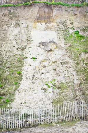 landslide: Evidence of a small landslide on a cliff in the UK Stock Photo