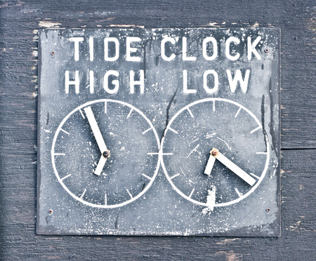 time's: A clock indicating tidal times in Dunwich, UK