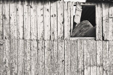wooden hut: Broken side of an old wooden hut in England