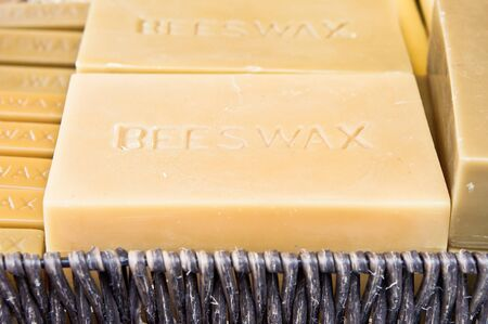 beeswax candle: Blocks of beeswax in a basket