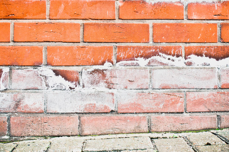 limescale: Limescale on a brick wall due to moisture