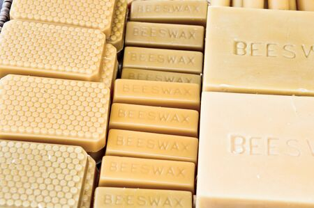 beeswax: Blocks of beeswax in a basket