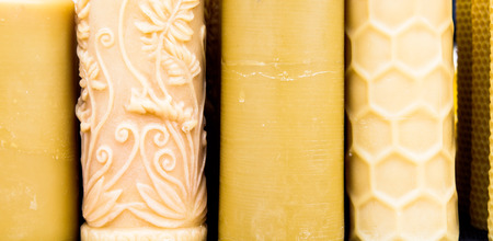 beeswax candle: Close up of beeswax candles as a background Stock Photo
