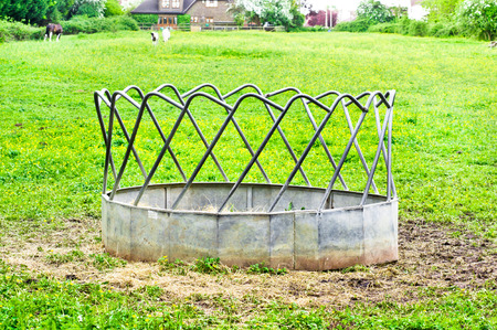 trough: A trough used for feeding horses in a paddock in Essex, UK