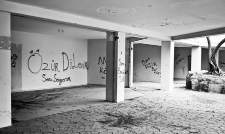 derelict: Interior of a derelict building in Turkey Stock Photo