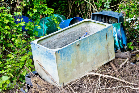 landfill site: Old metal and plastic containers Stock Photo