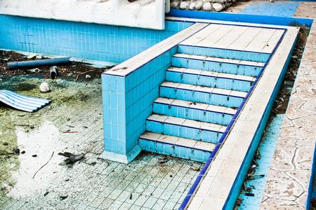 gunk: Part of a derelict swimming pool in Turkey