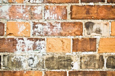 limescale: Part of a brick wall showing limescale deposits due to moisture Stock Photo
