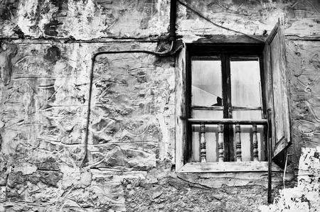 derelict: A window in an old derelict house in Turkey