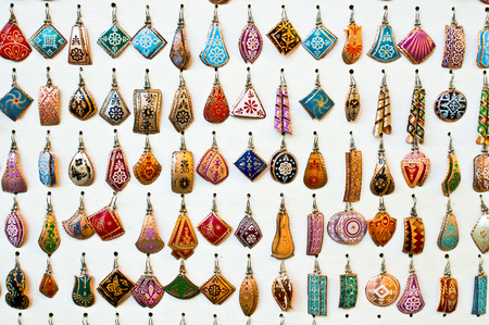 Selection of traditional turkish earrings on display in a store