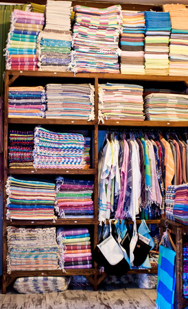 clothing store: Inside of a store selling textiles and clothing in Turkey