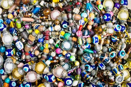 blue eye: Selection of Turkish souvenir bracelets at a market