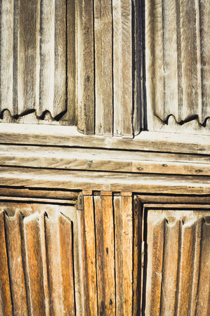 panelled: Part of an old wooden panelled door or wall Stock Photo