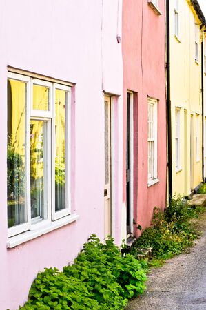 neighbours: Row of colorful town houses in the UK