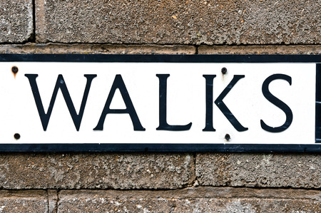 street name sign: Part of a street name sign with the word walks