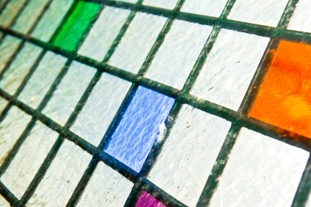 diagonals: Part of a stained glass panel Stock Photo