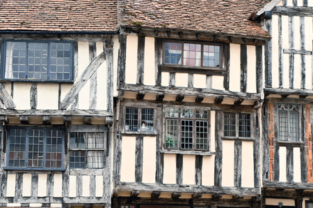 listed buildings: Outside aspect of a medieval house in England Stock Photo