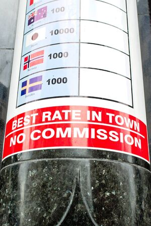 display figure: A currency rates poster outside an exchange bureau in London in September 2015 Stock Photo