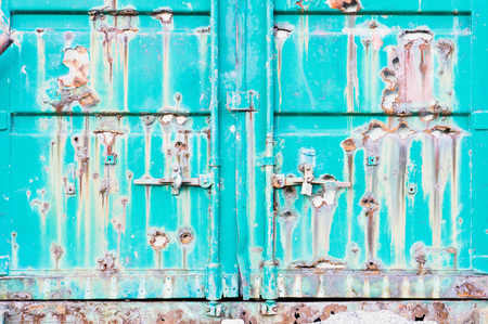 storage unit: Part of a metal storage unit which is severly damaged by rust and rot Stock Photo