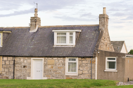 macdonald: LOSSIEMOUTH, SCOTLAND - OCTOBER 9 2015: The birthplace home of Ramsay Macdonald, Britians first Labour party prime minister. Editorial
