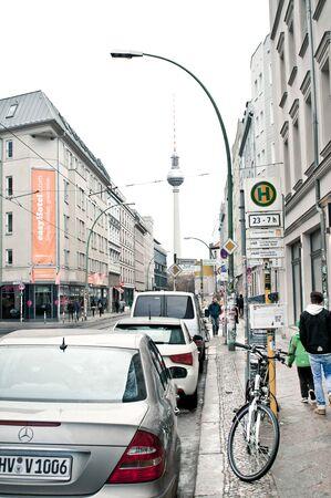tv tower: BERLIN, GERMANY - NOVEMBER 22 2015:  The iconic Berlin TV Tower seen from Rosenthalerplatz