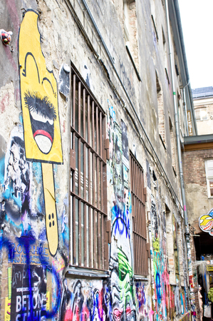 a righteous person: BERLIN, GERMANY - NOVEMBER 22 2015:  Graffiti on the walls outside the Otto Weidt Museum Workshop for the Blind in Berlin.