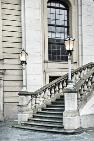 stately: A set of stone steps at the entrance to a classic historic building in Germany Stock Photo