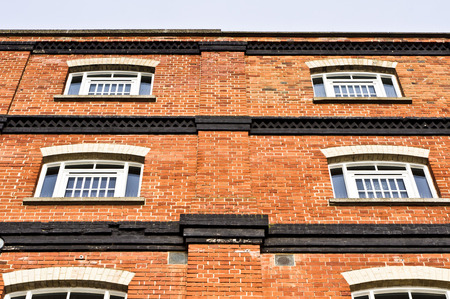 renovated: The exterior wall of a renovated red brick building in Ipswich, UK