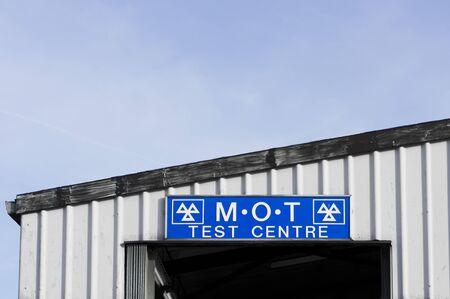 mot: The sign for an MOT vehicle test centre in the UK
