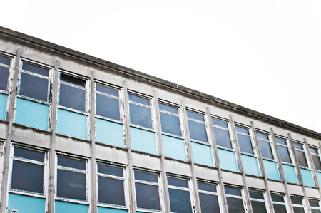 derelict: Part of a derelict office building in the UK Stock Photo
