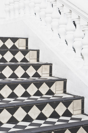chequer: Part of a set of stone steps with decorative tiles at the entrance to a house Stock Photo