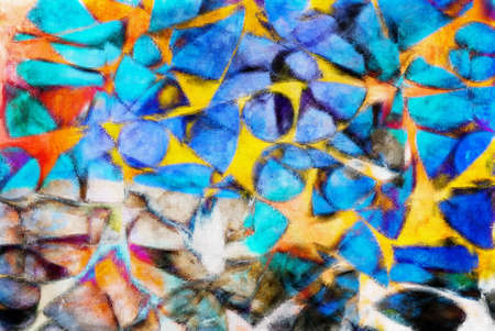 stellate: A digital abstract painting with vibrant colours