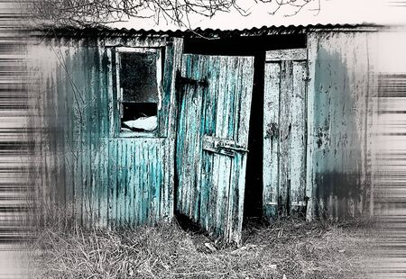 domestic garage: A digital watercolor of an old metal hut with a wooden door Stock Photo