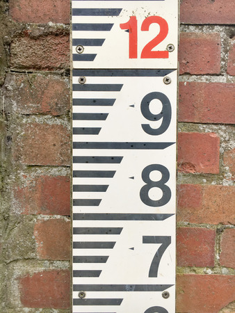 hydrology: A measureing scale for water depth, on a bricl wall ONSS