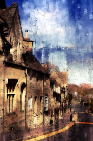 row of houses: Grungy digital painting of a row of houses on a street