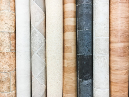 Rolls of lino in a homeware store Stock Photo